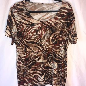 3/$15 Brown patterned blouse